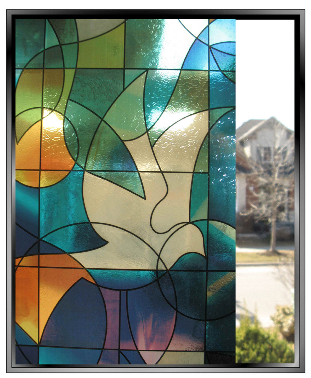 Stained Glass Doves DIY Decorative Privacy Window Film
