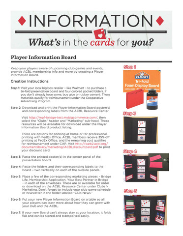 Player Information Board creation instructions