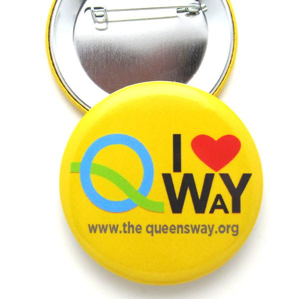 """Premium 2.25"""" Pinback Button - Full Color - Premium Low Glare Finish - Queens Way"""