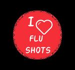 I heart flu shots button.