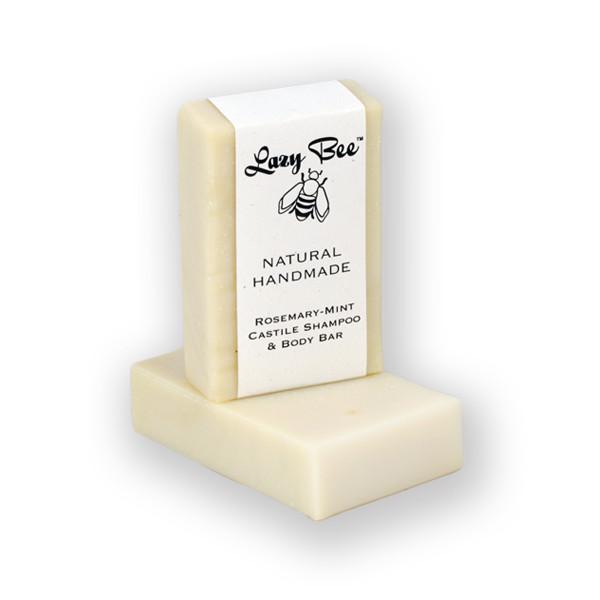 Rosemary-Mint Castile Shampoo & Body Bar Soap - Lazy Bee - Handmade