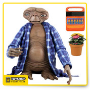 E.T. is fully poseable and features incredible life-like detail.  This assortment includes Telepathic E.T. with flowers and speak .Figures have ball jointed necks, shoulders, elbows, wrists, and ankles.