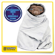 E.T. is fully poseable and features incredible life-like detail.   Night Flight E.T. complete with removable blanket to re-create the bicycle flight w/ Elliot.Figures have ball jointed necks, shoulders, elbows, wrists, and ankles.Clamshell Packaging.
