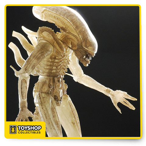 "This figure is based on the original prototype suit for the ""Big Chap"" Alien in the 1979 movie. H.R. Giger originally had the suit cast in a translucent flesh-tone but, in one of the many technical hurdles that had to be overcome to bring his creature to life on screen, repeated difficulties with the material forced the change to the coloring seen in the movie. The figure features 25 points of articulation and bendable tail, and stands over 9"" tall."