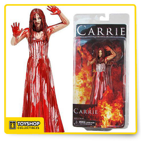 Carrie 7″ figures of the classic horror tale about Carrie White, a shy girl outcast by her peers and sheltered by her deeply religious mother, who unleashes telekinetic terror on her small town after being pushed too far at her senior prom.The  figure is Carrie as she unleashes her rage, covered in blood from head to toe. It's a frightening sight to behold.Figure stand approx 6.5″ tall.Rage Carrie