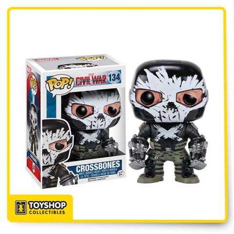 Due to the events of Captain America: The Winter Soldier, Brock Rumlow has become… Crossbones! This Captain America: Civil War Crossbones Pop! Vinyl Figure features the villain from the third Captain America film in the Marvel cinematic universe! Standing about 3 3/4-inches tall, this figure is packaged in a window display box. Ages 3 and up.