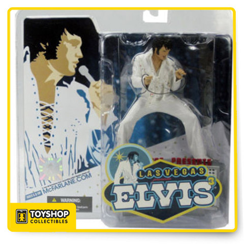 """McFarlane Toys third Elvis action figure of the King of Rock """"n"""" Roll in a pose base on reference from a Live concert in Las Vegas in 1970. Impeccable detailed figures showcases the entertainers in his fringed white jumpsuit and includes a custom marquee base and microphone."""