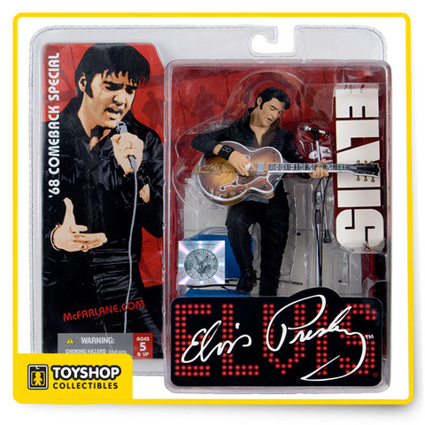 "McFarlane Toys first Elvis action figure of the King of Rock ""n"" Roll based on reference from his famous 68 Comeback Especial. Stunningly detailed in black leather, this Super Stage figure includes custom diorama base, guitar and mic stand"