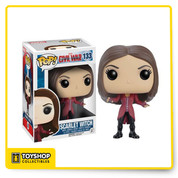Whose side are you on? From the Captain America: Civil War film comes Scarlet Witch as a Pop! Vinyl Figure. Standing at 3 3/4-inches tall, Scarlet Witch is displayed in her movie-accurate suit and is also a bobble head to boot! Wanda Maximoff stands in a window display box. Ages 3 and up.