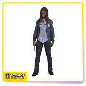 What job could you possibly give one of the most lethal members of Rick's group when she arrived in Alexandria? Side by side with Rick, Michonne enforced law and order as constables. Patrolling the streets, Michonne made sure everyone stayed safe, even if that included quelling Rick. This version of Michonne depicts the character in her full constable uniform, Figure also includes approximately 22 points of articulation, iconic katana with sheath, and pistol.
