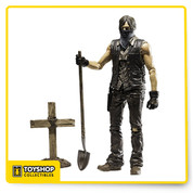 This Walking Dead Series TV 9 Grave Digger Daryl Dirt Version action figure depicts a dirt-covered Daryl from the Season 4, wearing his gloves and bandana while digging the grave for another fallen companion. Standing at about 5-inches tall, the figure also includes approximately 22 points of articulation, wooden cross/grave marker, and shovel. Daryl Dixon, a long-time survivor within Rick's group, has become a pillar of support for those who came to rely on him. If that means burying the dead, then so be it.