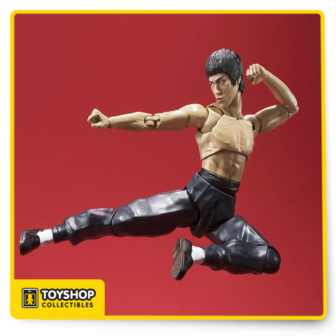 Using advanced S.H.Figuarts articulation technology, you can reproduce all of Bruce Lee's powerful martial arts moves! Aiming for total realism, Tamashii Nations utilized highly advanced facial digital coloring technology to capture every detail. Bruce Lee fans will be impressed by the incredible sense of reality maintained is such a small figure. Set includes several trademark weapons to capture the on screen action including a nunchaku (nunchuck) and two staffs (short and long). Other accessories include interchangeable hands (x9) and interchangeable face parts (x2).