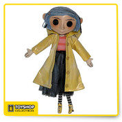 Bring home the weird world of Coraline! This detailed replica of Coraline's doll comes from the stop-motion movie adaptation of Neil Gaiman's fun and spooky book.  It lovingly reproduces the doll as seen in the film, from the yarn hair and button eyes to the removable yellow raincoat. The doll has a hidden wire armature so you can pose her arms, legs, even her raincoat! Over 9″ tall. A great collectible for fans of all ages.