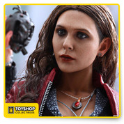From Sideshow Collectibles and hot Toys: Scarle Witch, one of the new stars of Avengers: Age of Ultron,sas as 1/6 Scale Collectible figure.The movie-accurate collectible is specially crafted based on the image of Elizabeth Olsen as Scarlet Witch in the film, and features a newly developed head sculpt with long curly brown real fabric hair, a finely tailored costume, specially created hands with red translucent fingertips, and magical effect accessories