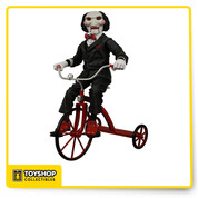 The iconic evil puppet from the SAW trilogy receives the deluxe treatment. This 12″ scale version of Billy is fully articulated and comes complete with his little red tricycle. Billy also features a push button sound chip that triggers actual sounds and dialogue from the film.