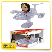 Wonder Woman's aircraft gets the Pop! Vinyl treatment! The Wonder Woman Invisible Jet Pop! Vinyl Vehicle includes the Amazonian Princess and features her transparent aircraft with a wing span of 8-inches! This amazing Pop! Vinyl vehicle measures about 12-inches long with a wing span of 8-inches and Wonder Woman stands about 3 3/4-inches tall and comes packaged in a window display box.