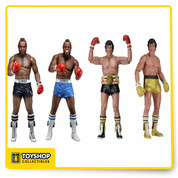 Celebrate 40 years of the phenomenally successful Rocky saga as well as the recent Creed movie with NECA! The National Entertainment Collectibles Association is relaunching their Rocky action figure line, with a mix of amazing figures and sold-out favorites for those who might have missed out. Series 1 focuses on Rocky III, includes three re-issued figures - two versions of Clubber Lang in both black trunks and blue trunks with unique head sculpts, and a gold trunks version of Rocky! Realistic sculpts feature the likenesses of actors Sylvester Stallone and Mr. T. These 7-inch scale figures are fully articulated and ready to take their one-in-a-million shot at the dream. Special window box packaging both celebrates the 40th Anniversary and preserves the value of the original releases for collectors. Ages 14 and up.