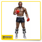 Celebrate 40 years of the phenomenally successful Rocky saga as well as the recent Creed movie with NECA! The National Entertainment Collectibles Association Series 1 focuses on Rocky III, in which Rocky Balboa fights and is beaten bloody by Clubber Lang, losing his world championship. This 7-inch scale figure of Clubber Lang in black trunks is a re-issue of the original figure, and features special window box packaging that both celebrates the 40th Anniversary while also preserving the value of the original release for collectors. Fully articulated, Clubber is ready to take his one-in-a-million shot at the dream!