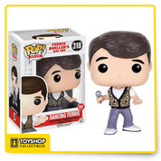 """Enjoy John Hughes' classic 1980's film, Ferris Bueller's Day Off in Pop! Vinyl form! This Ferris Bueller's Day Off Dancing Ferris Bueller Pop! Vinyl Figure features Matthew Broderick as the snarky high school student, Ferris Bueller. From the memorable dancing scene from the film, Ferris is holding a microphone and wearing his iconic printed vest. This figure measures approximately 3 3/4-inches tall and comes packaged in a window display box. Ages 14 and up."