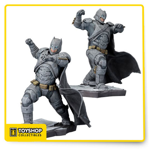 The Dark Knight is ready for on comers from Gotham and now Metropolis! As seen in the Batman v Superman: Dawn of Justice movie, Batman stands 8 1/3-inches tall in 1:10 scale. Batman blocks with his left arm, raising his right as he readies a punch, all while wearing an armored battle suit. The highly detailed sculpt brings Batman to life, all the way down to the gritty georama base and the fabric patterns in Batman's cape, all in a 1:10 scale perfect for display. Comes packaged in a closed box. Ages 14 and up.