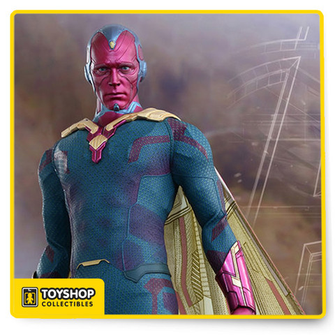 Vision Sixth Scale Collectible Figure! The movie-accurate Vision Collectible Figure is specially crafted based on his image in Avengers: Age of Ultron. It features a newly developed head sculpt with detailed texture and Mind Stone, specially tailored costume and cape, Thor's hammer, Mjölnir, and a specially designed figure stand.   Your Avengers: Age of Ultron collection wouldn't be complete without the addition of this powerful android! From Sideshow Collectibles and Hot Toys