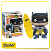 Batman hangs 10! This Batman Classic 1966 TV Series Surf's Up Batman Pop! Vinyl Figure features the Dark Knight as seen in the iconic episode, yellow swim trunks and all! This figure measures about 3 3/4-inches tall and comes packaged in a window display box.