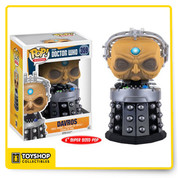 The creator of the Daleks returns! Expand your Doctor Who pop collection with one of the Doctor's oldest enemies, Davros! This Doctor Who Davros Pop! Vinyl Figure measures approximately 6-inches tall and comes packaged in a window display box.