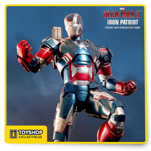The movie-accurate Iron Patriot Collectible Figure is specially crafted based on the image of Don Cheadle as Iron Patriot, highlighting the detailed head sculpt, metallic red, white and blue star spangled armor, light up functions and rotatable machine gun.  The Iron Patriot Sixth Scale Figure features:  Authentic and detailed fully realized likeness of Don Cheadle as Iron Patriot in the Iron Man 3 movie Head sculpt with helmet with authentic likeness of Don Cheadle as Iron Patriot in the movie Alternate helmeted head with light-up function Approximately 31 cm tall Over 36 points of articulation Contains diecast material