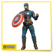 Whose side are you on? In Captain America: Civil War, the Sentinel of Liberty comes down on the opposite side of the law, pitting himself against Tony Stark's Iron Man in a superhero battle for the ages! This Captain America: Civil War Captain America Select Action Figure features Steve Rogers in his uniform, features 16 points of articulation, a detachable shield, and an Avengers Base diorama section. Collect all three Civil War figures to build the full diorama! (Each sold separately) Packaged in display-ready Select figure packaging, with side-panel artwork for shelf reference. Measures about 7-inches tall. Ages 8 and up.