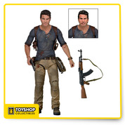 """To celebrate the thrilling Uncharted video game series, we're excited to introduce a highly requested figure into our Ultimate line: adventurer Nathan Drake, based on his appearance in the upcoming Uncharted 4 game from Sony and Naughty Dog.  This 7"""" scale action figure features almost 30 points of articulation and is packed with fortune-hunting accessories: coiled and uncoiled climbing ropes, pistol, AK-47, two sets of hands, and two interchangeable head sculpts. Comes in collector-friendly deluxe window box packaging with opening flap."""