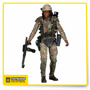 "Celebrate the 30th Anniversary of Aliens with three extraordinary action figure debuts!  Private Ricco Frost – known as ""Frosty"" to his fellow Marines – comes to action figure form for the first time with the likeness of actor Ricco Ross.  His detailed body armor features the same personalized touches as in the movie, and he's packed with accessories: removable helmet, ammo bag, M240 Flamethrower, and pistol that fits in a functioning holster. Pvt. Frost has over 25 points of articulation.  All figures stand approximately 7"" tall and come in 30th Anniversary clamshell packaging."