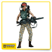 "Celebrate the 30th Anniversary of Aliens with three extraordinary action figure debuts!  Private Jenette Vasquez is one of the most requested action figures of all time and features the likeness of Jenette Goldstein. Her Marine gear is completely faithful to the movie, from the hand-painted mottos to the detailed headgear and shoulder lamp.  Vasquez has over 30 points of articulation and comes with a smartgun with fully articulated harness, plus a blast effect that attaches to the muzzle.  All figures stand approximately 7"" tall and come in 30th Anniversary clamshell packaging."