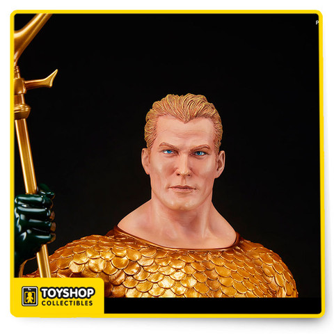 Heir to the throne of Atlantis, and King of the Seven Seas – all hail Aquaman!  Gifted with extraordinary aquatic abilities, Arthur Curry rises from the depths wielding his mighty trident, a powerful enchanted weapon and symbol of sovereign authority. Striking a commanding pose in a regal gold and green incarnation of his iconic costume, the sworn protector of the planet swells with cool determination at the edge of the surf, as tumultuous waves break over the Atlantean themed base at his feet. Celebrating a rich comic book history, multiple display options give collectors the ability to choose between Aquaman's classic look with short cropped wavy blonde hair, or his grizzled appearance from later story arcs, when he sports long hair, a shaggy beard and a prosthetic harpoon hand that doubles as a grappling hook.  Perfectly capturing one of DC Comics' most recognizable heroes, Sideshow's Aquaman Premium Format™ Figure is a must-have for fans of the Justice League!