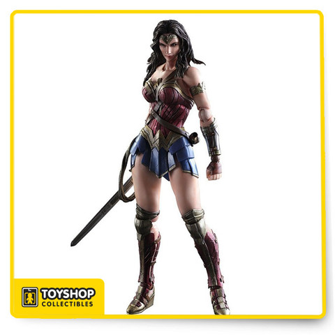"""From Square Enix. Batman v Superman Dawn of Justice Wonder Woman depicts the clash of two iconic heroes in the DC Comics universe. The figure also includes display stand and interchangeable hand parts. The figure stands nearly 9.8"""" tall."""
