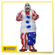 From the cult Rob Zombie film, it's Captain Spaulding from House of 1000 Corpses in classic clown attire! The Captain stands 8-inches tall and is dressed in fabric clothing similar to the iconic toy lines of the 1970's. He's fully poseable and truly terrifying! Comes in resalable protective clamshell packaging featuring custom artwork created just for this release! Ages 17 and up.