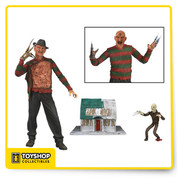 From the cult classic Nightmare on Elm Street horror films, we present the definitive collector's version of Freddy from Dream Warriors! Ultimate Part 3 Freddy features plenty of gruesome detail and tons of accessories, including 2 interchangeable heads, 2 pairs of hands, the Elm Street house, Freddy puppet and removable hat.
