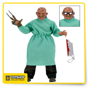 "The doctor is in!  From Nightmare on Elm Street Part 4: Dream Masters, Surgeon Freddy joins our retro clothed action figure line. He stands 8"" tall and is dressed in intricately detailed and tailored fabric clothing similar to the iconic toy lines of the 1970s. In addition to his fabric clothing, Surgeon Freddy also wears removable surgical scrubs, mask and hat. He's fully poseable and comes complete with sunglasses and bone saw accessories.  Blister packaging with resealable protective clamshell features new custom artwork created by illustrator Nathan Thomas Milliner just for this release!"