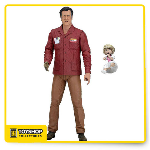 "The Series 1 Value Stop Ash Williams, comes with two interchangeable head sculpts, alternate wooded hand, and murderous doll. Figure stand approximately 7"" tall and is highly articulated."