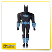 Batman: The Animated Series! Fans of the Batman: The Animated Series and The New Batman Adventures rejoice! Based on the designs of Bruce Timm, comes The New Batman Adventures Anti-Fire Suit Batman Action Figure and he stands 6-inches tall! The Dark Knight comes with 3 pairs of interchangeable hands as well as his cold-gun!