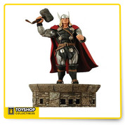 Taken from J. Michael Straczynski's new Thor series, this sevin-inch scale figure features the Mighty Thor sporting his new chain-mail costume design. With over 14 points of articulation and a deluxe floating Asgard base, not even Loki himself can stop this legendary god as he battles a new era of enemies. Sculpted by Gentle Giant, this is one hero you can't pass