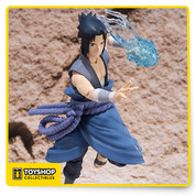 Sasuke Uchiha represented with his Itachi Battle design. Sasuke comes with an interchangeable face part that is specially made for recreating the final scene with his older brother, Itachi.  The set includes interchangeable hand parts (x10), interchangeable facial expressions (x2), weapon parts, and chidori effect parts. Be sure to check out S.H.Figuarts Itachi Uchiha. *Sold separately