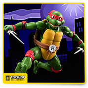 "You might as well call US tamashii turtle nations when you see what's in store for S.H.Figure. The first ever S.H.Figuarts version of everyone's favorite Teenage Mutants are coming in the classic animation colors! the ""cool but rude"" Raphael is the third turtle to join the series complete with his classic weapon, two sais. The sais can be stored on Rafael's belt which comes with interchangeable parts. The whole set includes interchangeable hands (x6), interchangeable head (x1), sai (x2), optional weapons (kunai, shuriken), and interchangeable belt parts. Get your Cowabunga on S.H.Figuarts style (and Grab some pizza while you're at it too)."