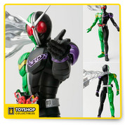 "Now, count up your sins! A highly posable action figure of the new Kamen Rider Double, created with S.H.Figurarts ""Shinkocchou"" technology! This system designs characters from the bone structure up for incredibly realistic proportions and posability. Kamen Rider Double features an opening Gaia Memory that can be detached from the Maximum Slot.  In addition to a standard muffler, the figure also includes an optional muffler that replicates Kamen Rider Double's dramatic appearance in the show's opening. Set includes interchangeable hands (x10) and optional muffler."