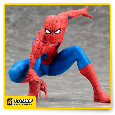 Kotobukiya kicks off a new series of 1/10 scale ARTFX+ statues based on characters appearing in Marvel comics with the Amazing Spider-Man. Spider-Man is 8.5 cm Tall (3.35 inches) as he crouches in a classic Spidey pose, right hand ready to activate his web shooter. Spider-Man wears his classic blue and red costume with black webbing design and spider emblem on his chest.