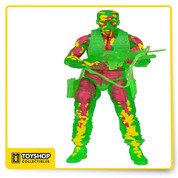 "The 11th Series  Predators action figures brings  Predators to the hunt! Thermal Vision Dutch! This special version of Dutch authentically replicates how the Predator sees him using his heat vision. The figure is cast in translucent green and is painted with ""hot spots"" of yellow and red. Comes complete with rifle, pistol and knife accessories."