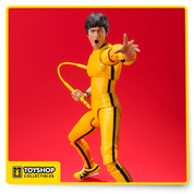 The hit s.H.Figuarts Bruce Lee action figure, now in his classic yellow track suit! digital coloring technology used for incredible accuracy to his on-screen appearance. The highly posable 140mm figure includes 4 sets of optional hands (L/R), 3 facial expressions, two nun chucks, and one staff.
