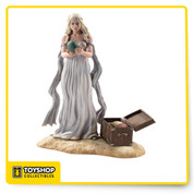 """The Game of Thrones Figure - Daenerys Targaryen comes of course from the popular HBO series, Game of Thrones. Daenerys stands 7-1/2"""" tall atop her base and features a great likeness to actress, Emilia Clarke.This figure is non-articulated. Includes a base and chest with 3 dragon eggs: green, gold and red. Dragon Eggs can be interchanged in Daenerys' hands. Window box packaging."""