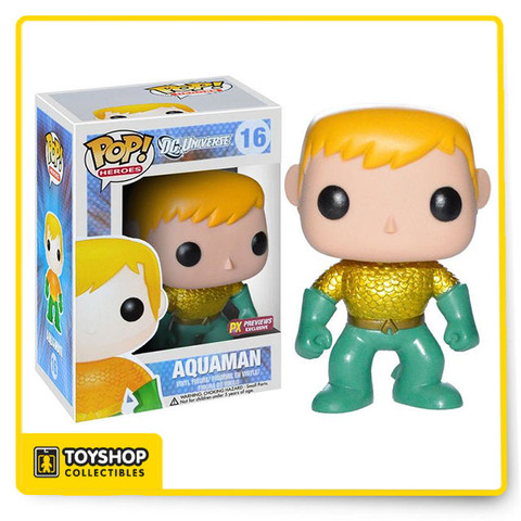 "Inspired by the urban and stylized character designs of today's designer toys, Funko presents a new take on classic comic book characters from the pages of DC Comics with their POP. Heroes Vinyl Figures. These 3 3/4"" tall figures of Aquaman, Batman, the Flash, Green Lantern, Superman and Wonder Woman depict the fan-favorites characters of the Justice League in their ""New 52"" costume and features Funko's unique design, rotating head and articulation. Window box packaging."
