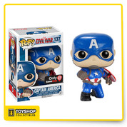 This means war! Captain America and Iron Man square off in Captain America: Civil War, coming to theaters this May! Add Captain America to your collection and to help his old pal Bucky!