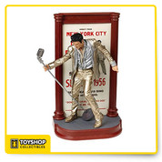 McFarlane Toys' fourth Elvis action figure features the King of Rock 'n' Roll in a classic pose and the gold lamhc) outfit he wore during a New York City appearance in 1956. Accurately capturing Elvis' essence, this impeccably detailed figure includes a custom marquee base and mic stand.